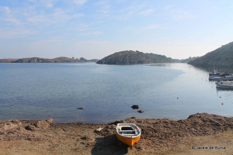 Port Lligat House-cum-studio fishing boat and bay outside