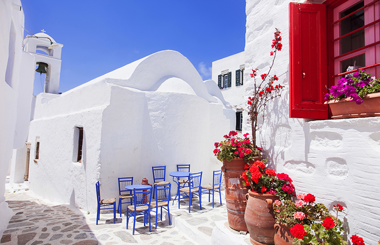 Amorgos Greece whitewshed houses and flowers