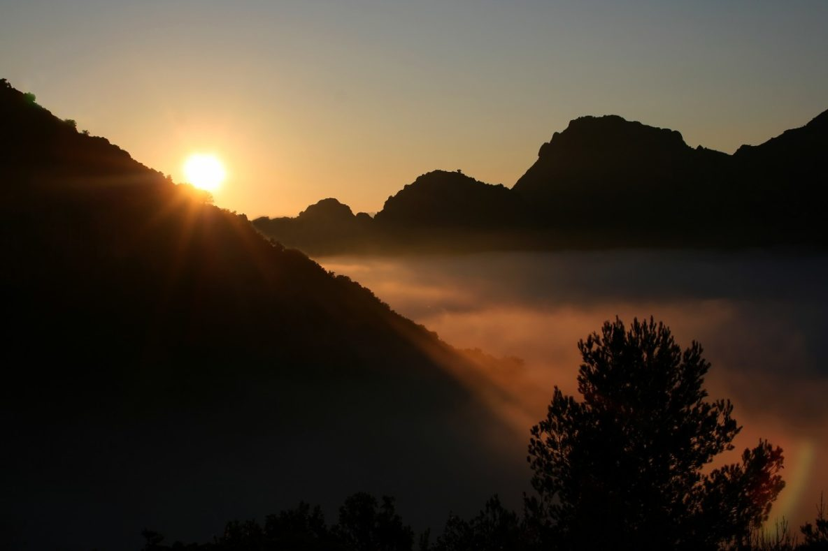 Els Ports Natural Park Catalonia Spain with Mountain sunset and fog
