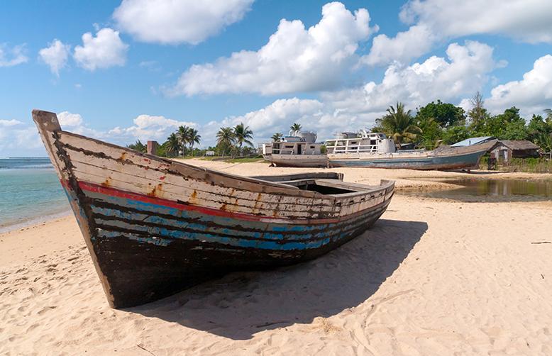 Madagascar boat on beach