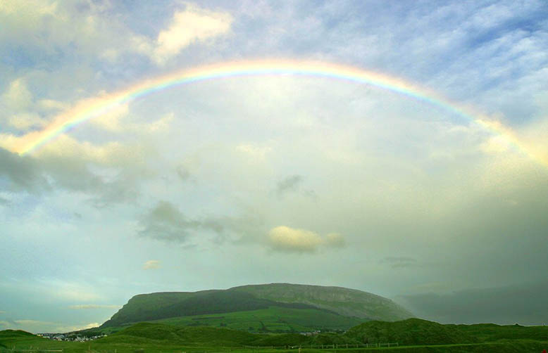 W. B. Yeats inspirational Ireland-Rainbow over Knocknarea
