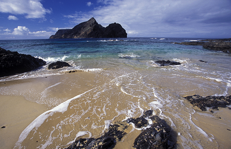 A Beach on the Island of Porto Santo of the Madeira Islands in the Atlantic Ocean of Portugal-1