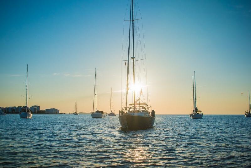 Ibiza yachts at sea