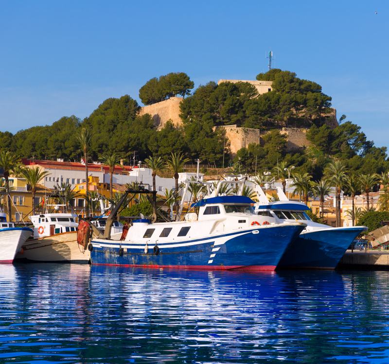 Denia Spain Port with Castle On Hill and Boats