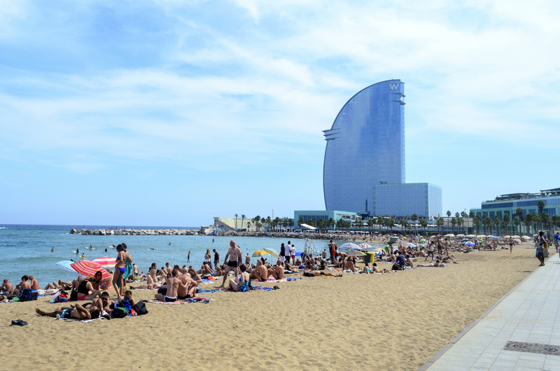 Spain beautiful cities Barcelona Barceloneta beach
