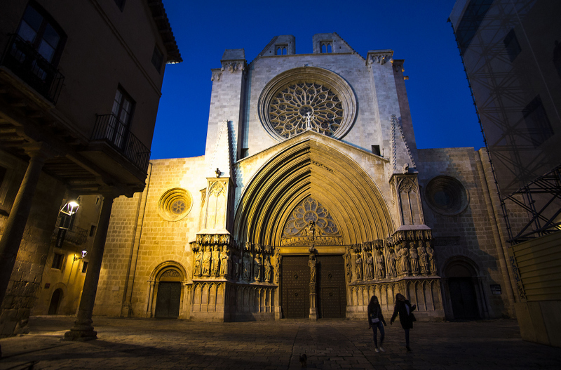 Tarragona Spain Cathedral at night