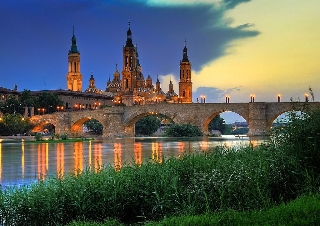 Spain best cities-Zaragoza Basica de Pilar at sunset beautiful