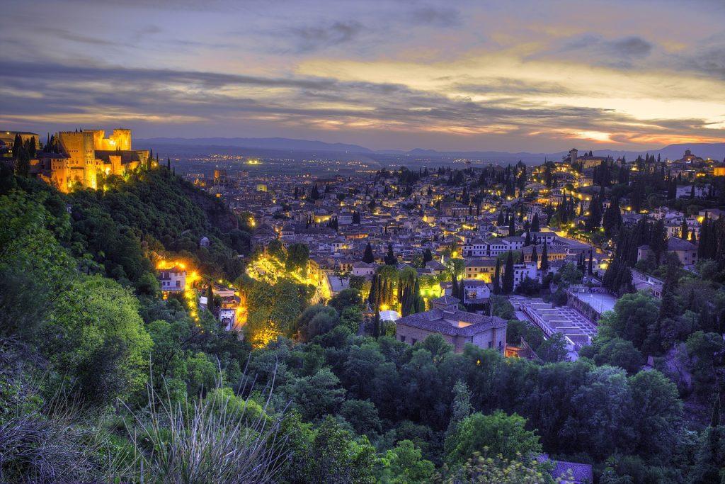 Granada Spain Travel Guide cityscapr at night