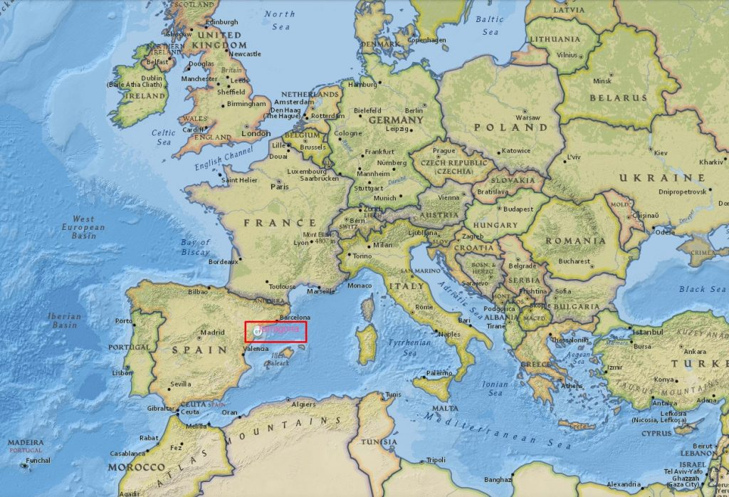 Tarragona Spain map in European context