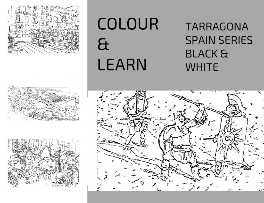 Tarragona Spain travel colouring book black and white-Colour & Learn