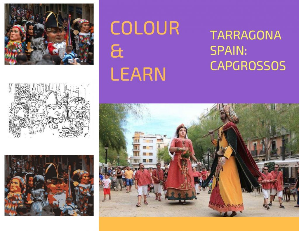 Tarragona Spain travel colouring page Capgrossos-Colour & Learn