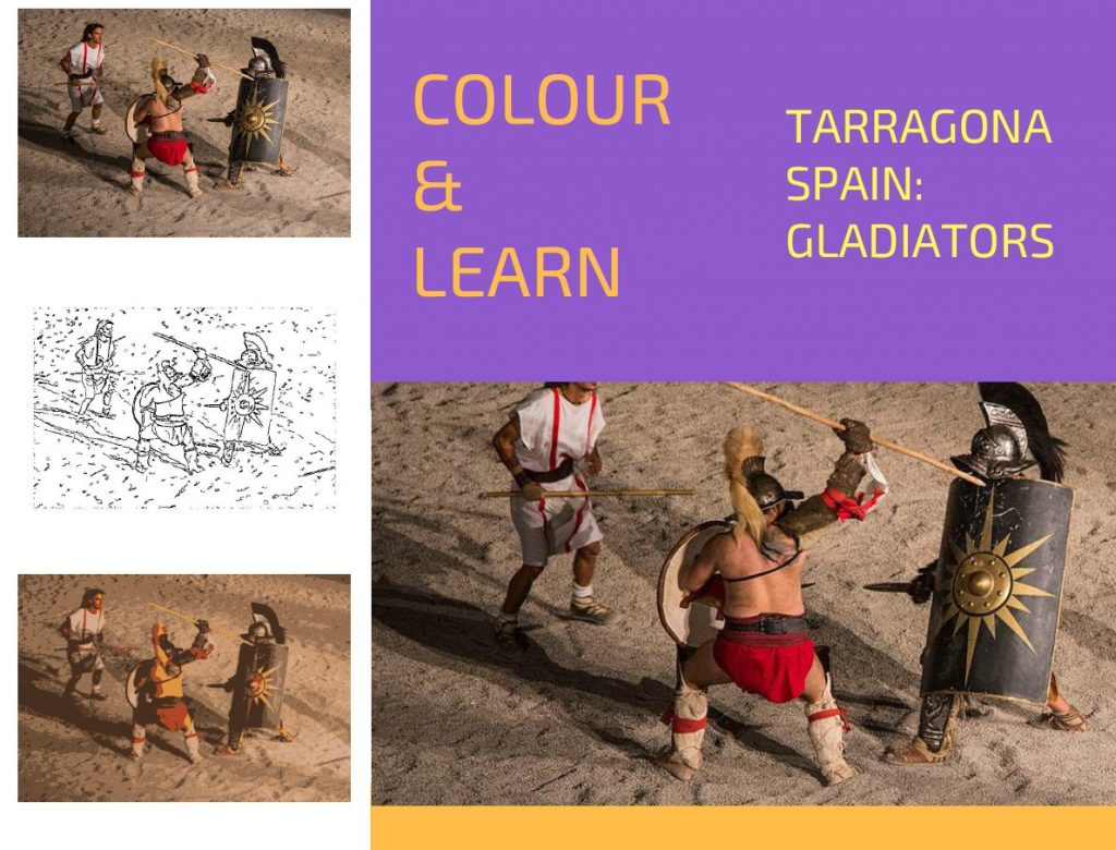 Tarragona Spain travel colouring page Gladiators-Colour & Learn