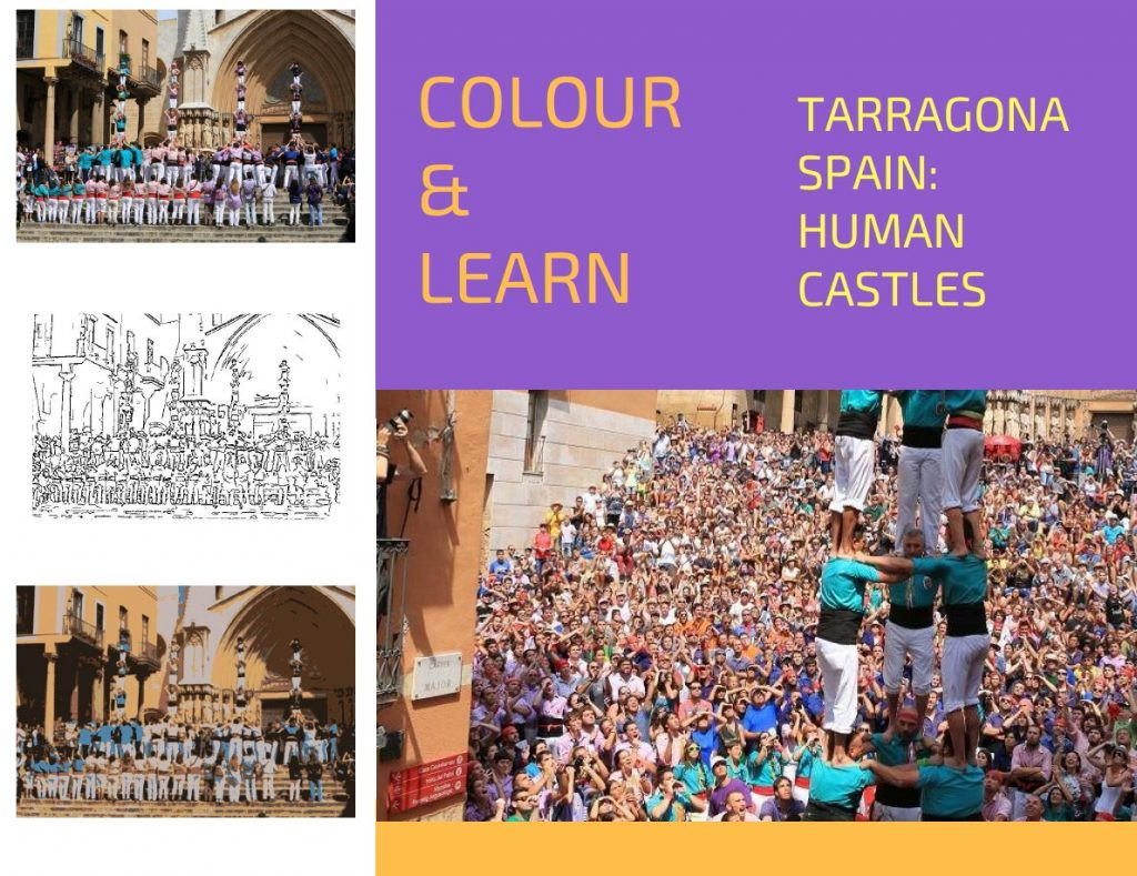 Tarragona Spain travel colouring page Human Castles-Colour & Learn