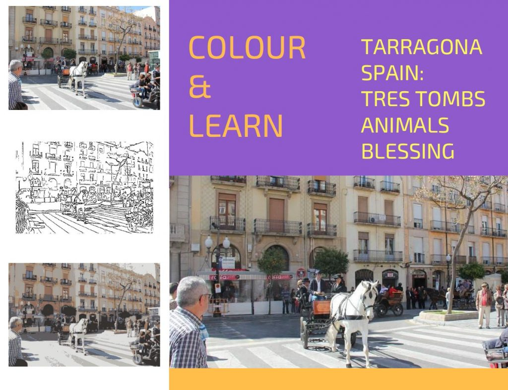 Tarragona Spain travel colouring page Tres Tombs Animals Blessing-Colour & Learn