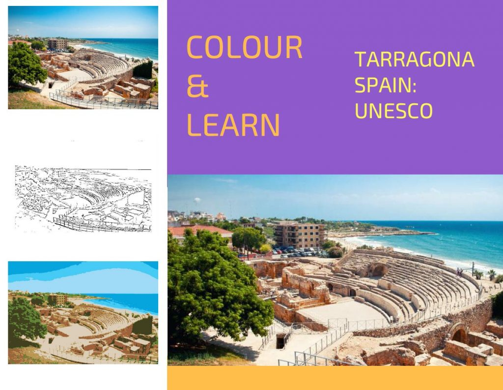 Tarragona Spain travel colouring page UNESCO-Colour & Learn