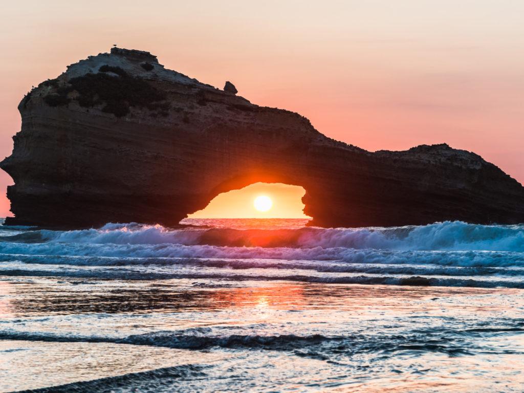 Biarritz France holidays sunset at a beach