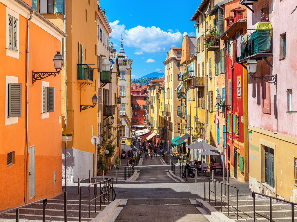 Nice France travel -Narrow street in old part of Nice