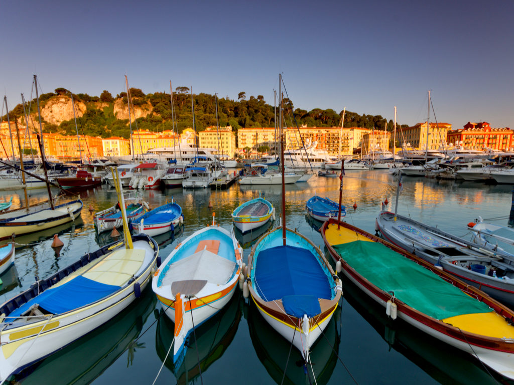 Nice France travel old wooden boats harbour