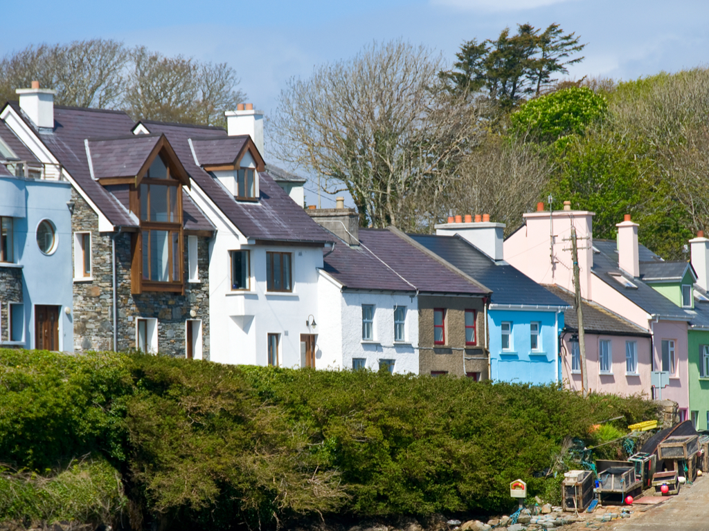 beautiful towns Galway Houses in the harbour of Roundstone Connemara, Ireland