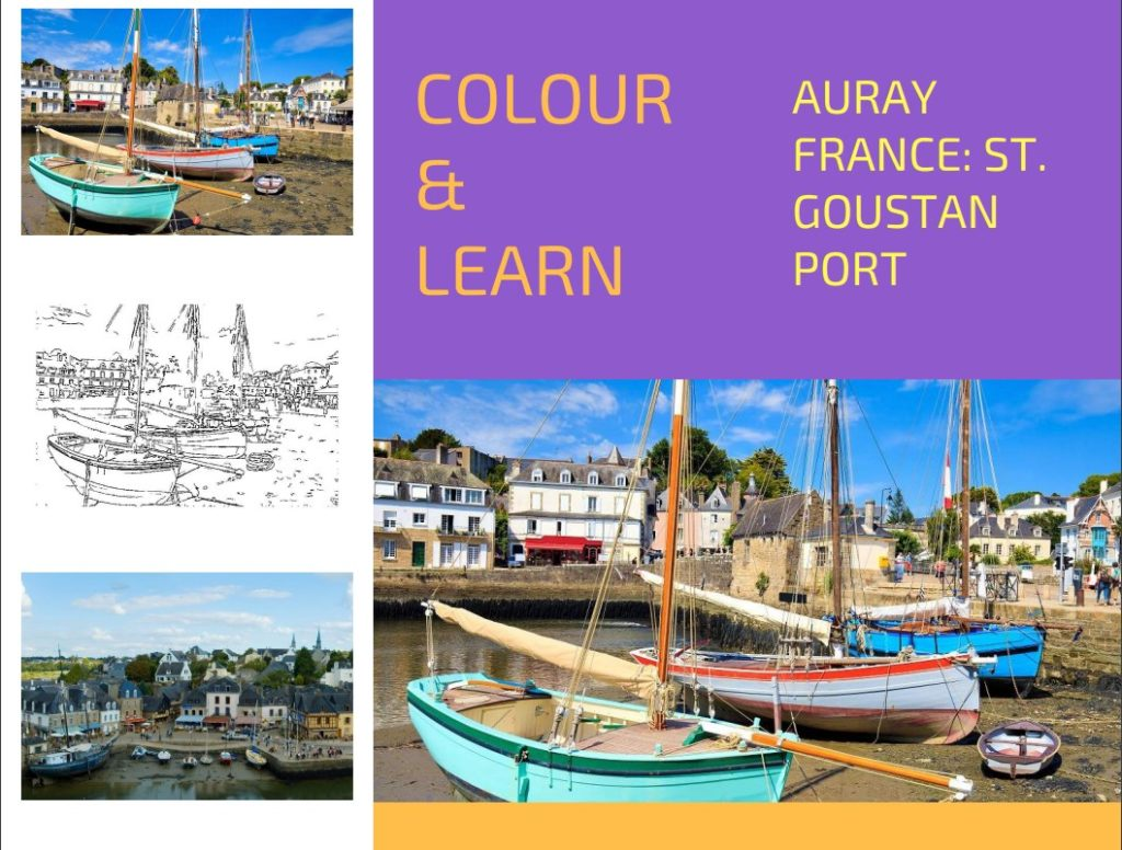 Auray France free colouring page