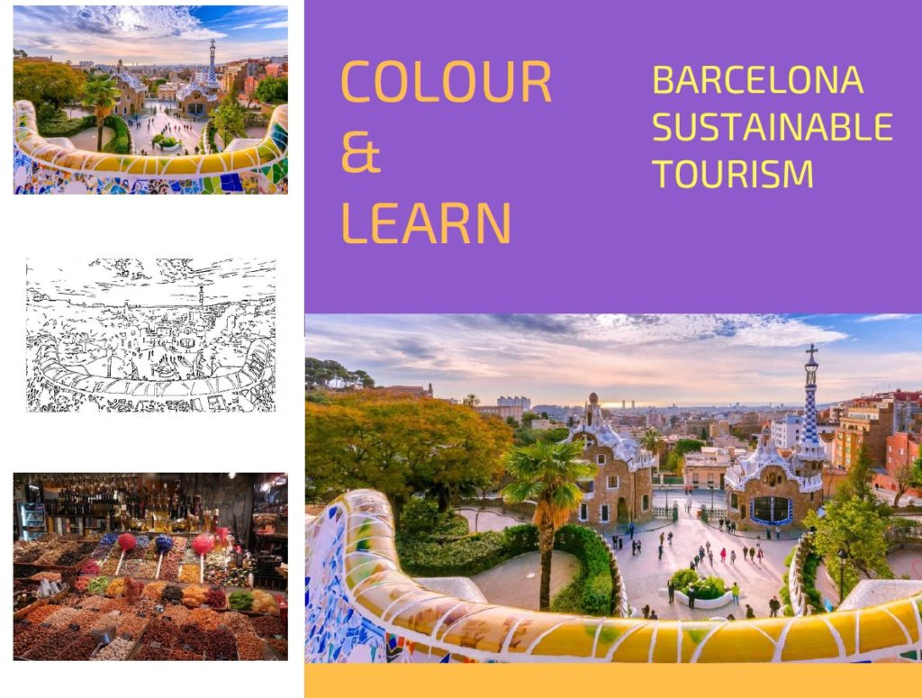 Barcelona park guell free colouring page