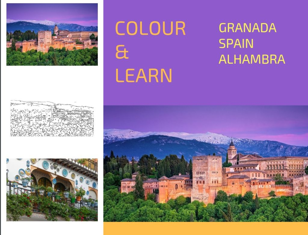 Granada Spain Alhambra free colouring page Colour and Learn