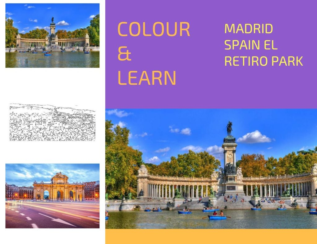 Madrid Park Retiro free colouring page Colour & Learn Travel Inspires