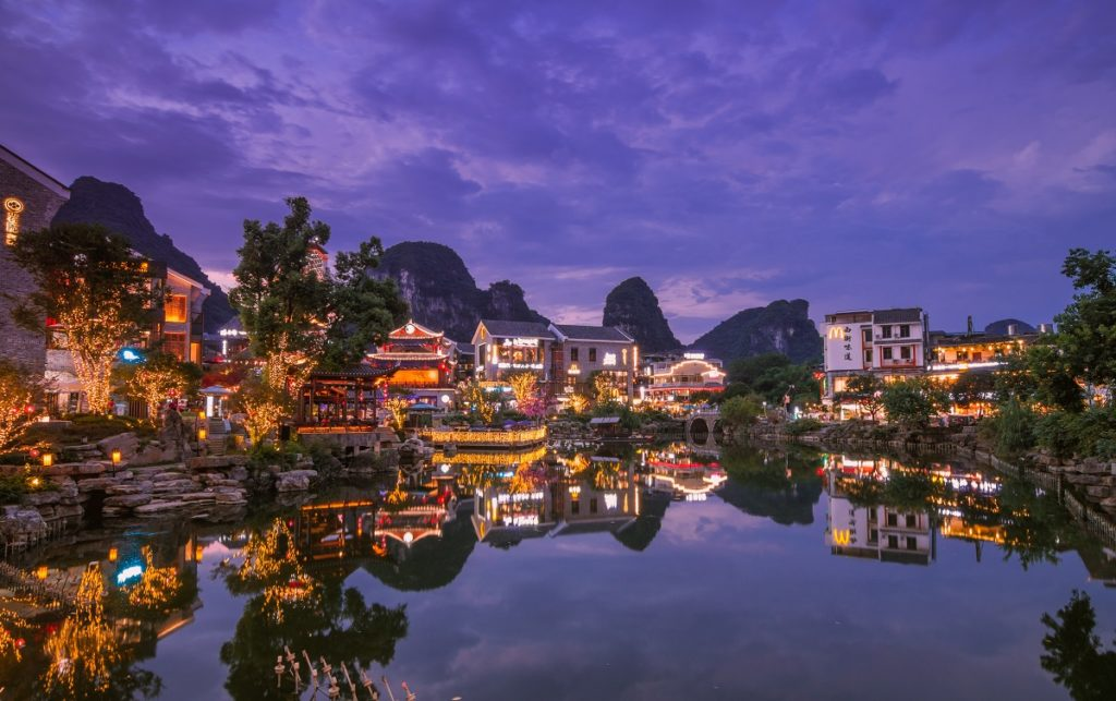 Yangshuo Guilin Street night view