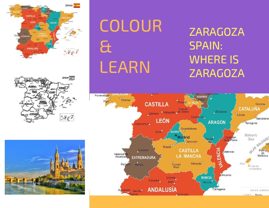 Zaragoza Spain map free colouring page