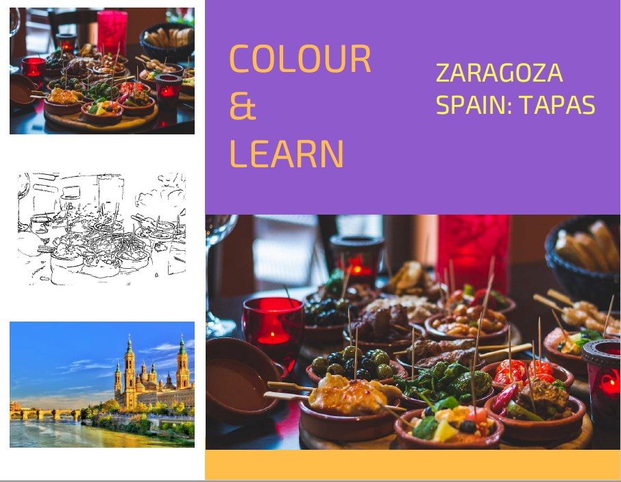 Zaragoza Spain tapas free colouring page