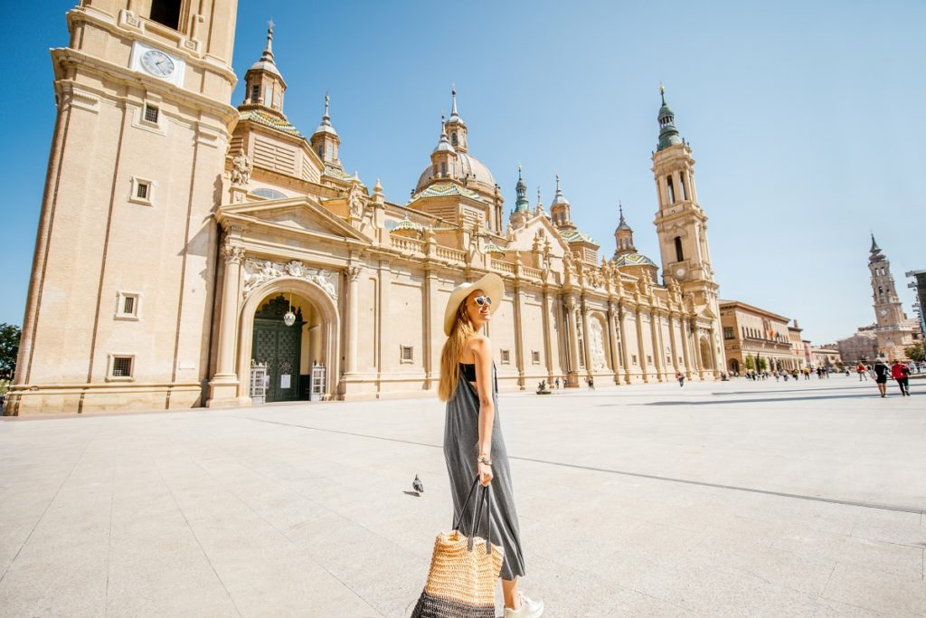 Zaragoza Spain woman in front of Basilica