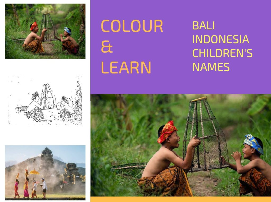 Bali Indonesia free colouring page childrens names Colour & Learn Travel Inspires