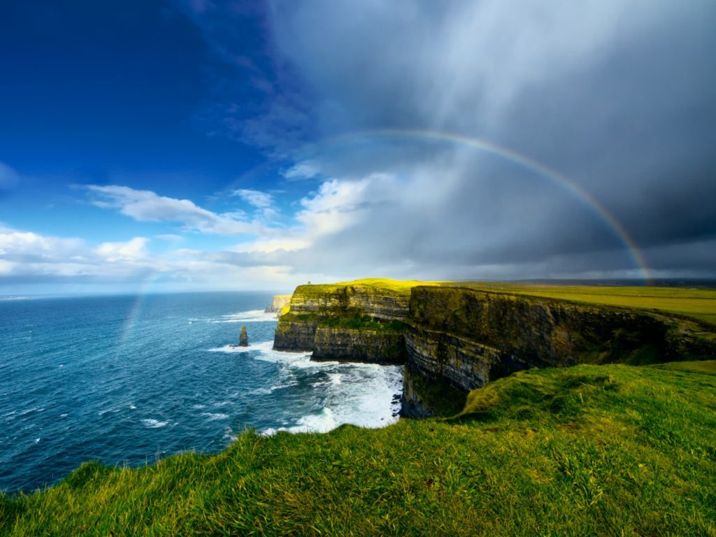 Cliffs of Moher beautiful places near Galway rainbow