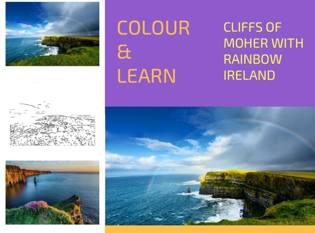Cliffs of Moher with rainbow free colouring page Colour & Learn Travel Inspires
