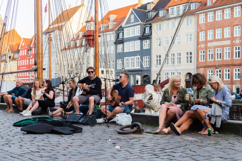 Copenhagen, Denmark Nyhavn old harbour happy people