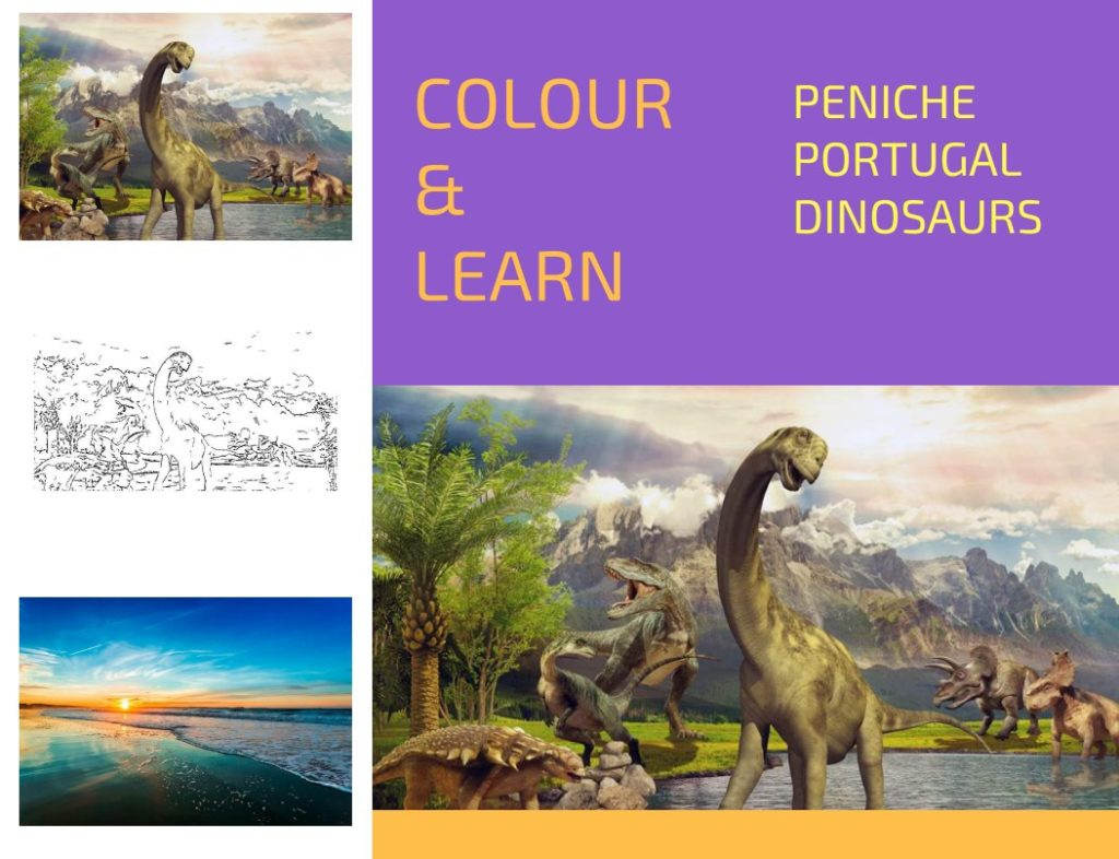 Peniche Portugal free colouring page dinosaurs