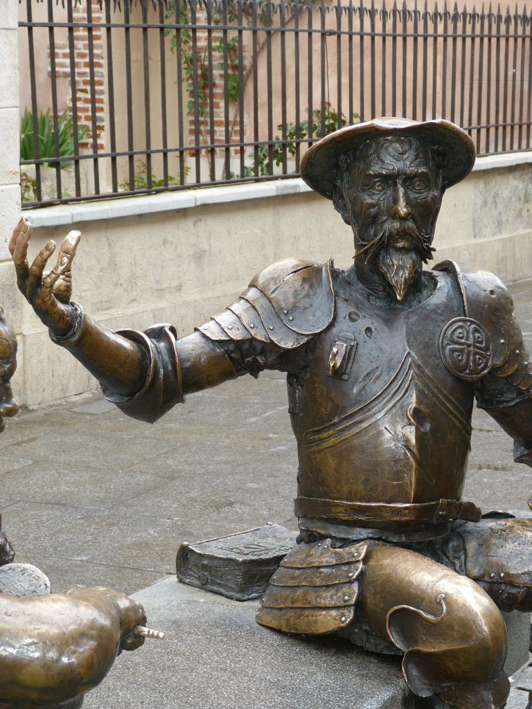 Best Route From Madrid to Barcelona alcala de henares don-quijote statue