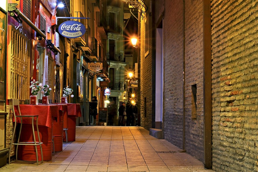 Zaragoza Spain El Tubo tapas area at night