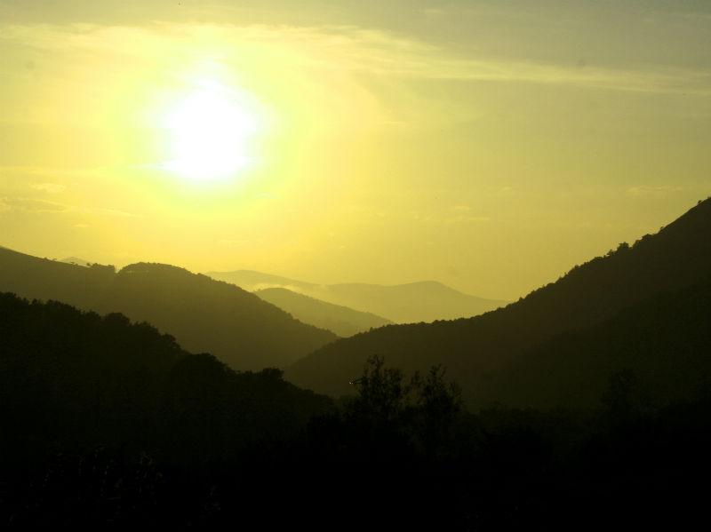 Barcena Mayor sunset over mountains