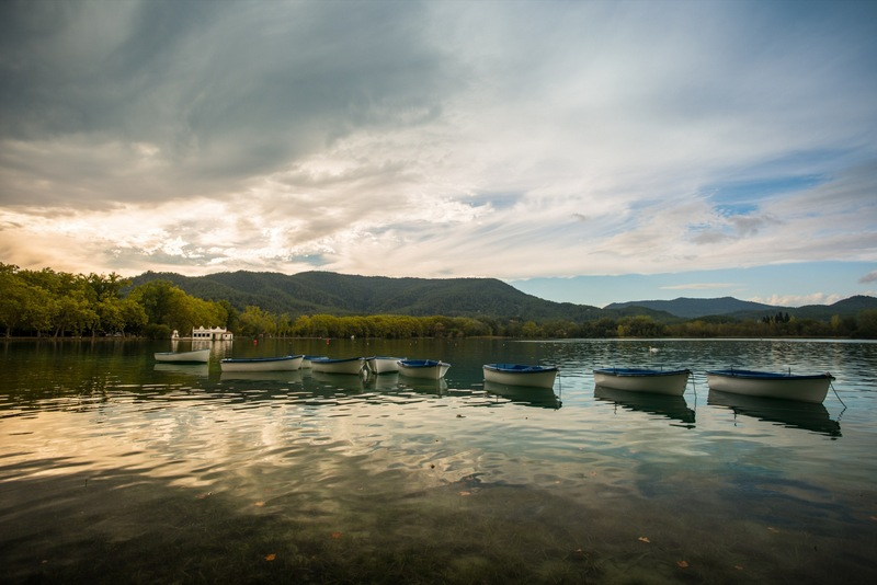 Banyoles Lake Catalonia Boats In Evening Light