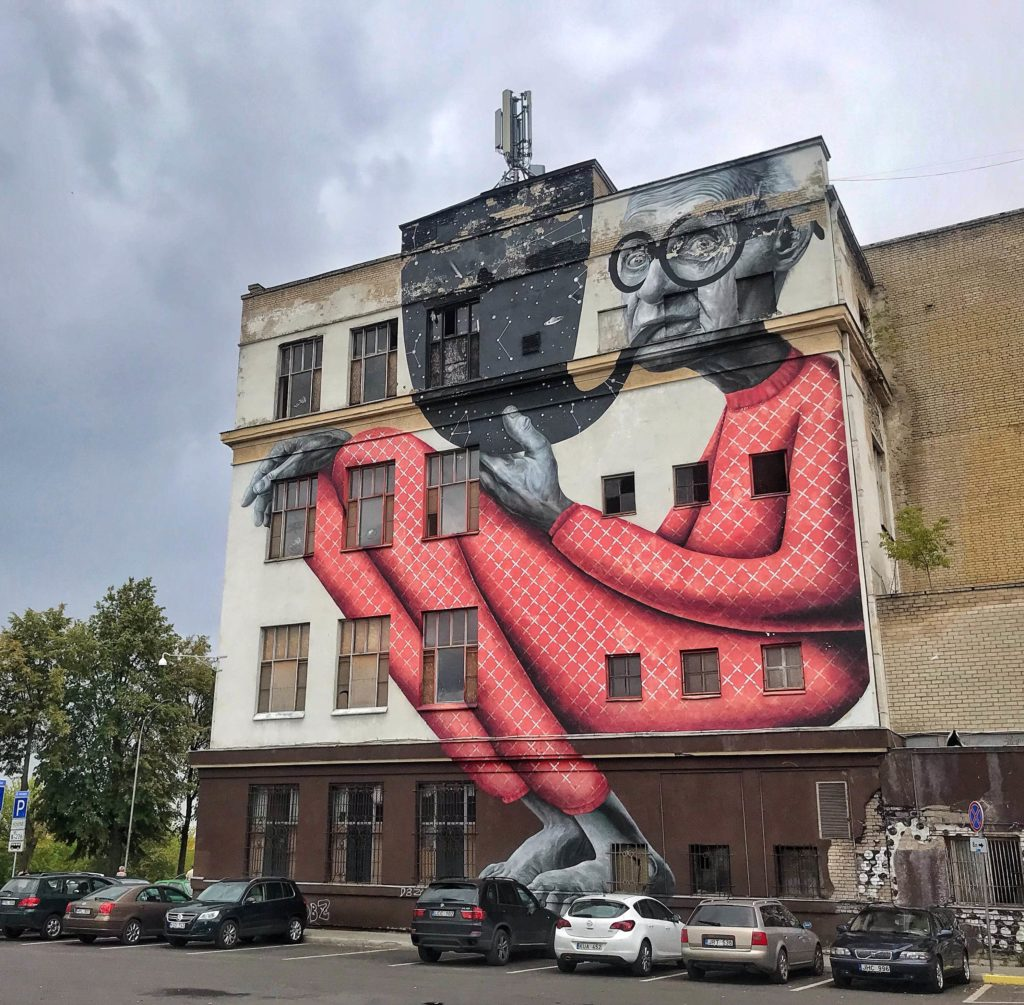 Kaunas things to do the Old Wise Man mural street art