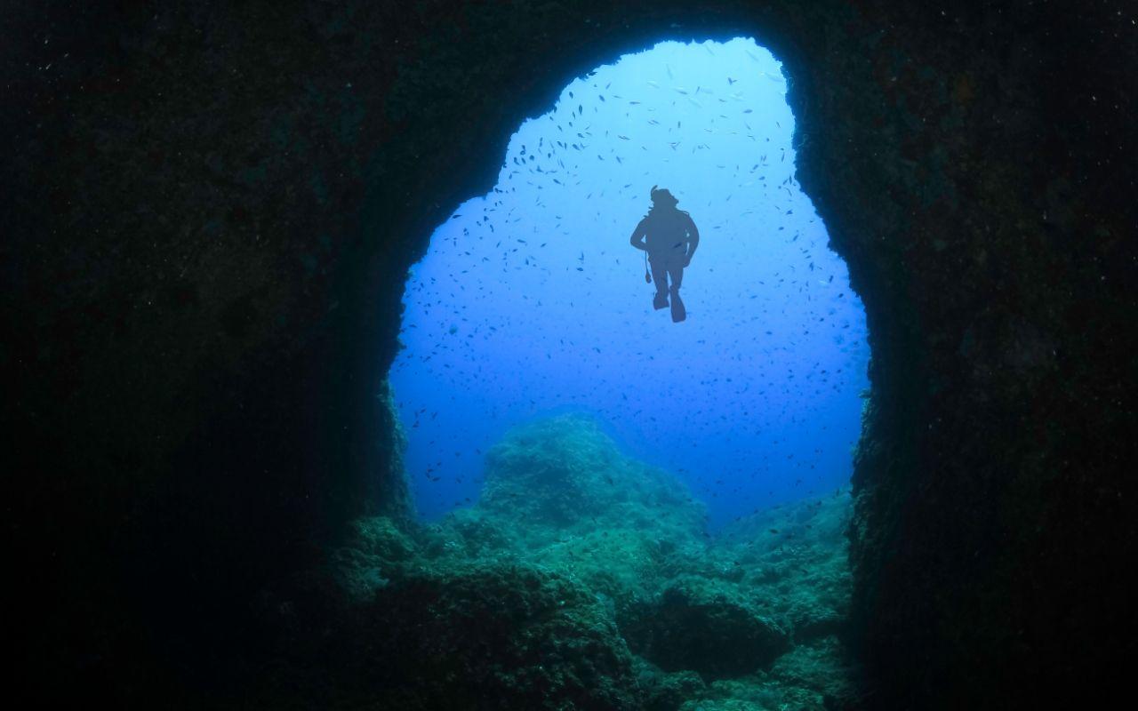 Majorca underwater cave diving
