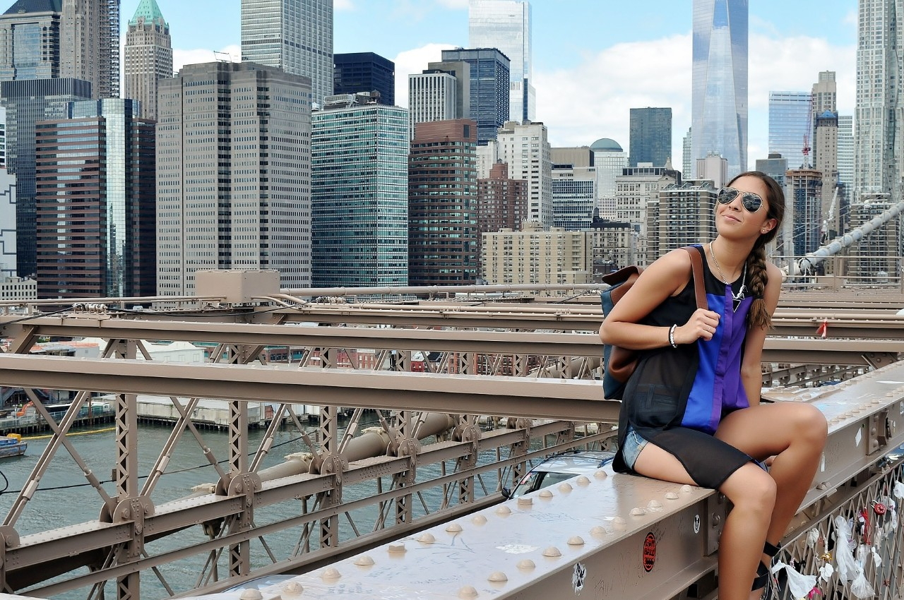 new york city girl and view