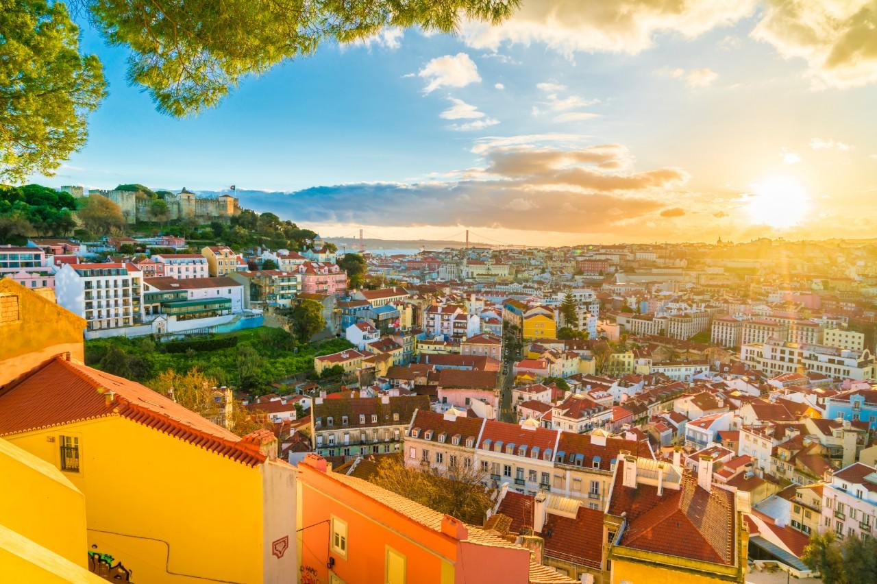 Lisbon Portugal at sunset panorama
