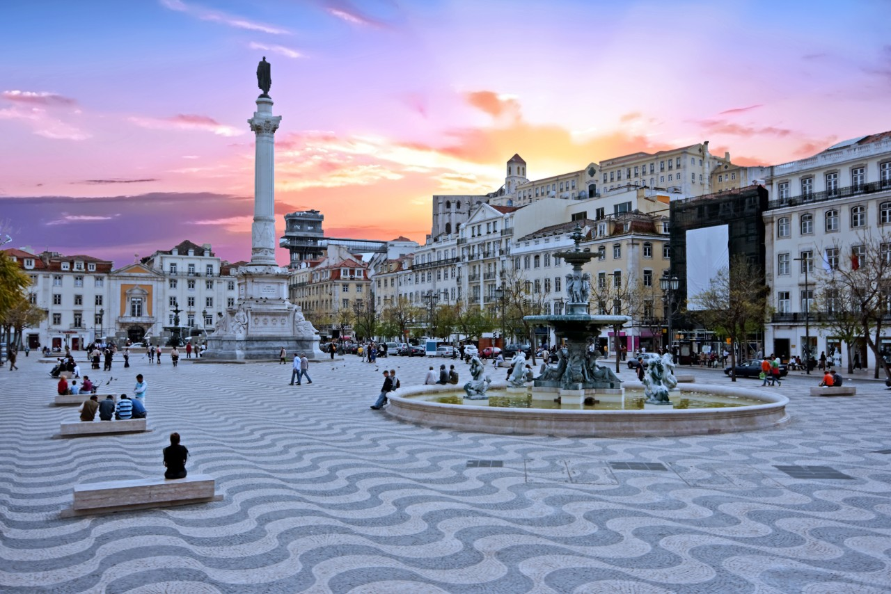 Lisbon Rossio square at sunset