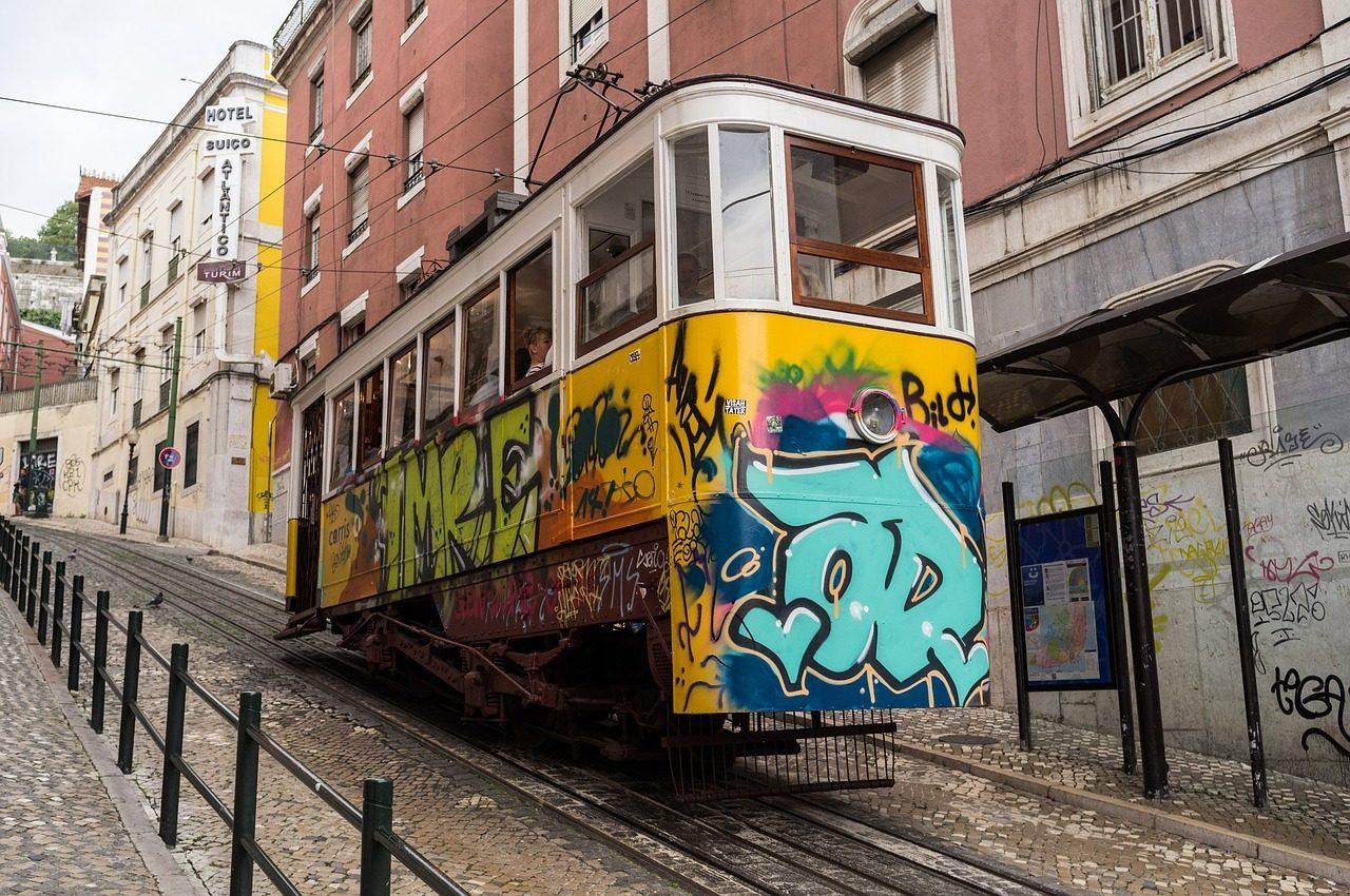 Lisbon tram on hill