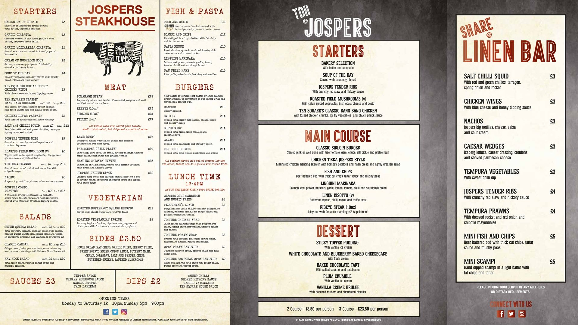 Ten Square Hotel Belfast menu