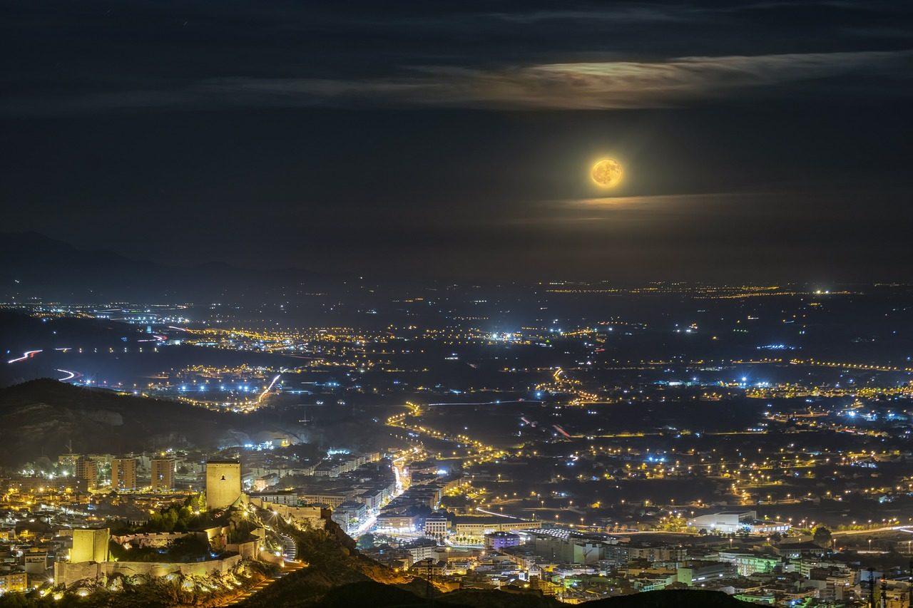 Murcia city by night moon