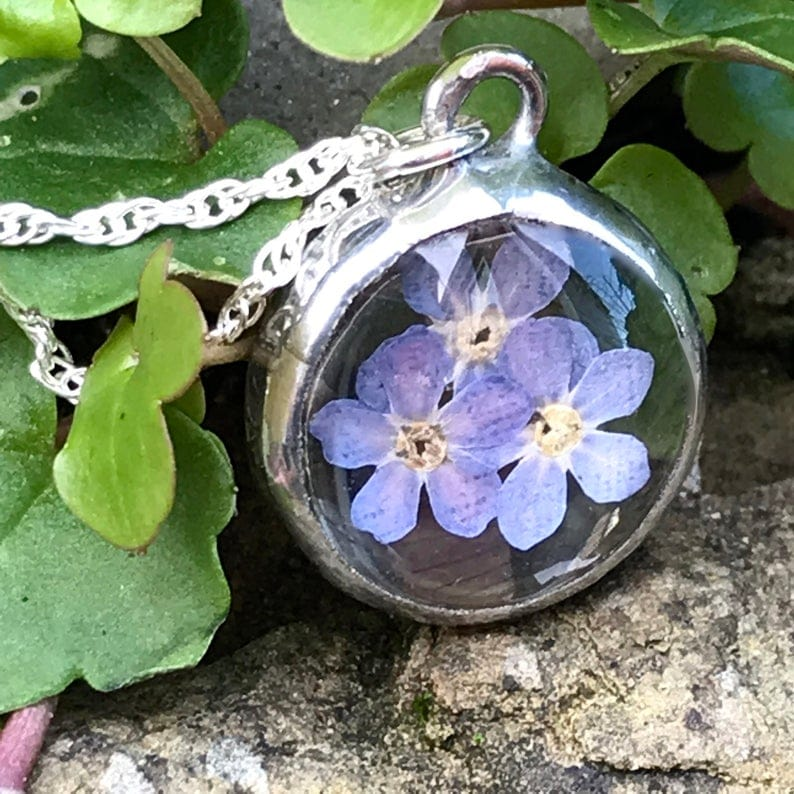 Ann Smyth Real Pressed Forget me not Flowers pendant necklace