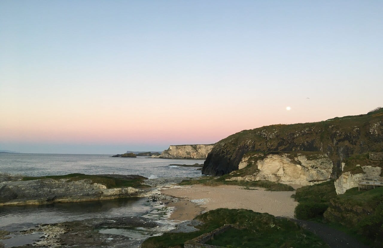 Ballintoy harbour Pink Moon Andrea Spencer